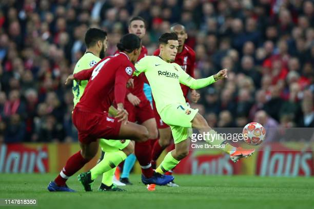 Philippe Coutinho of Barcelona controls the ball during the UEFA Champions League Semi Final second leg match between Liverpool and Barcelona at...