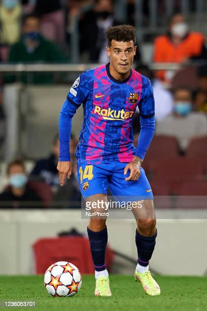 Philippe Coutinho of Barcelona during the UEFA Champions League group E match between FC Barcelona and Dinamo Kiev at Camp Nou on October 20, 2021 in...