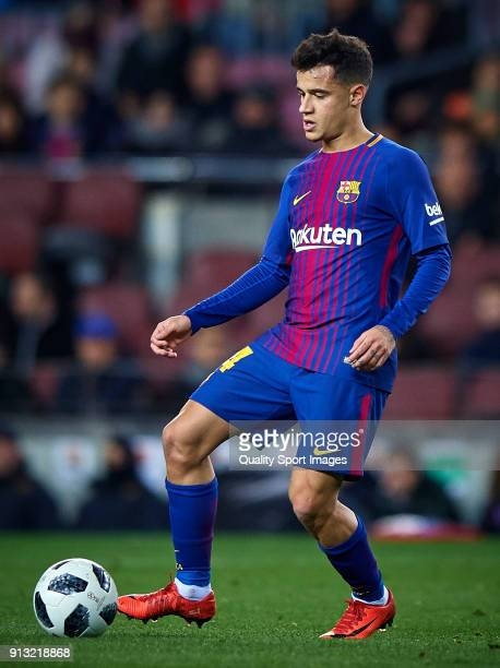 Philippe Coutinho of Barcelona in action during the Copa del Rey semifinal first leg match between FC Barcelona and Valencia CF at Camp Nou on...