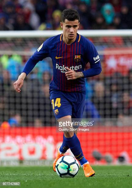 Philippe Coutinho of Barcelona in action during the La Liga match between FC Barcelona and Atletico de Madrid at Camp Nou on March 4 2018 in...