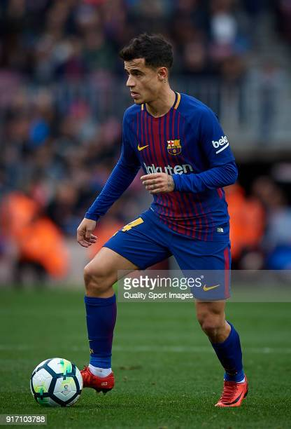 Philippe Coutinho of Barcelona in action during the La Liga match between Barcelona and Getafe at Camp Nou on February 11 2018 in Barcelona Spain