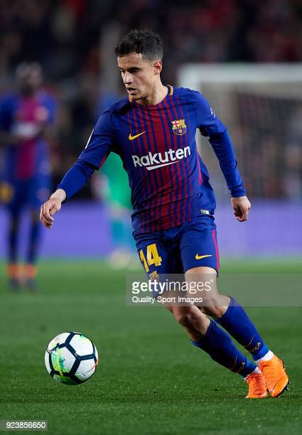 Philippe Coutinho of Barcelona in action during the La Liga match between Barcelona and Girona at Camp Nou on February 24 2018 in Barcelona Spain