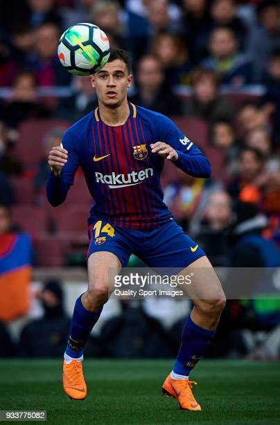 Philippe Coutinho of Barcelona in action during the La Liga match between Barcelona and Athletic Club at Camp Nou on March 18 2018 in Barcelona Spain