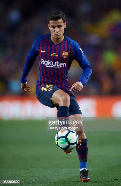 Philippe Coutinho of Barcelona in action during the La Liga match between Barcelona and Real Sociedad at Camp Nou on May 20 2018 in Barcelona Spain