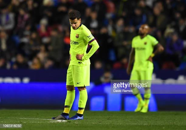 Philippe Coutinho of Barcelona looks dejected as Levante score their second goal during the Copa del Rey Round of 16 match between Levante and FC...