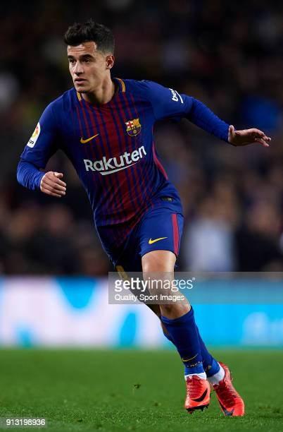 Philippe Coutinho of Barcelona looks on during the Copa del Rey semifinal first leg match between FC Barcelona and Valencia CF at Camp Nou on...