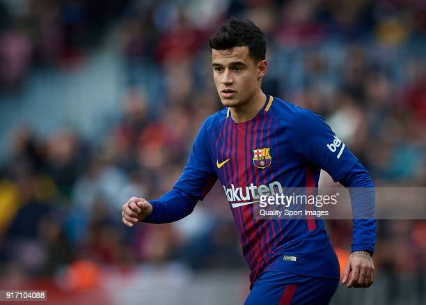 Philippe Coutinho of Barcelona looks on during the La Liga match between Barcelona and Getafe at Camp Nou on February 11 2018 in Barcelona Spain