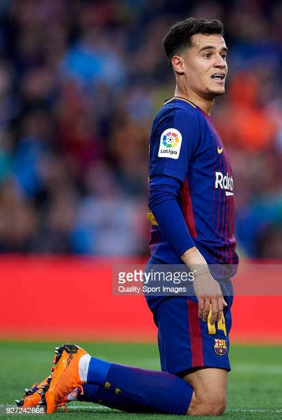 Philippe Coutinho of Barcelona reacts on the pitch during the La Liga match between FC Barcelona and Atletico de Madrid at Camp Nou on March 4 2018...