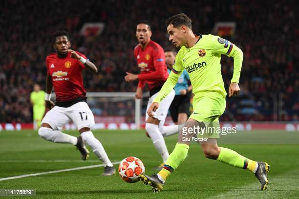 Philippe Coutinho of Barcelona runs with the ball during the UEFA Champions League Quarter Final first leg match between Manchester United and FC...