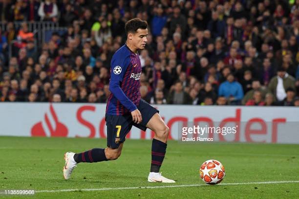Philippe Coutinho of Barcelona scores his team's second goal during the UEFA Champions League Round of 16 Second Leg match between FC Barcelona and...