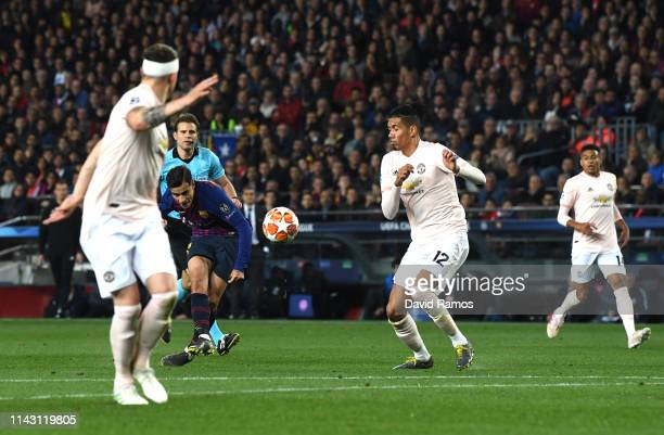 Philippe Coutinho of Barcelona scores his team's third goal during the UEFA Champions League Quarter Final second leg match between FC Barcelona and...