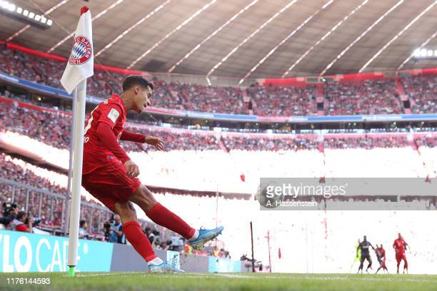 Philippe Coutinho of Bayern Muenchen kicks a corner during the Bundesliga match between FC Bayern Muenchen and 1. FC Koeln at Allianz Arena on...