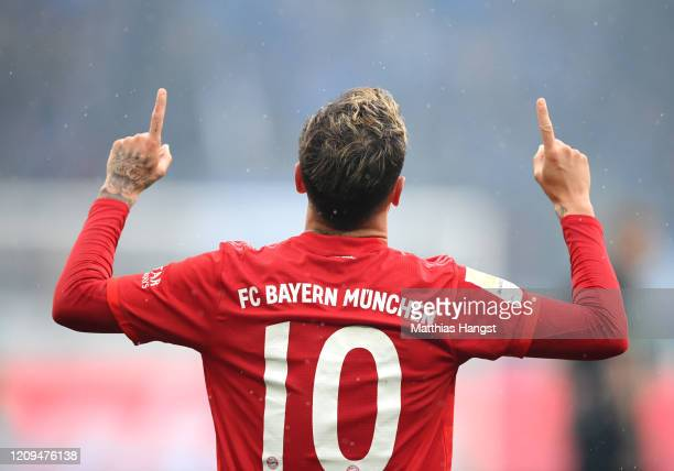 Philippe Coutinho of Bayern Munich celebrates after scoring his sides fifth goal during the Bundesliga match between TSG 1899 Hoffenheim and FC...