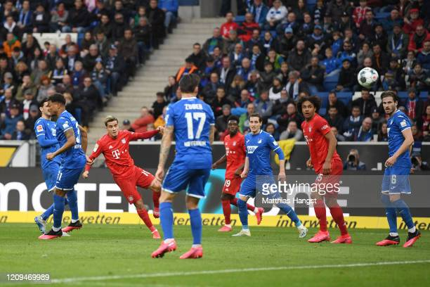Philippe Coutinho of Bayern Munich scores his sides fourth goal during the Bundesliga match between TSG 1899 Hoffenheim and FC Bayern Muenchen at...