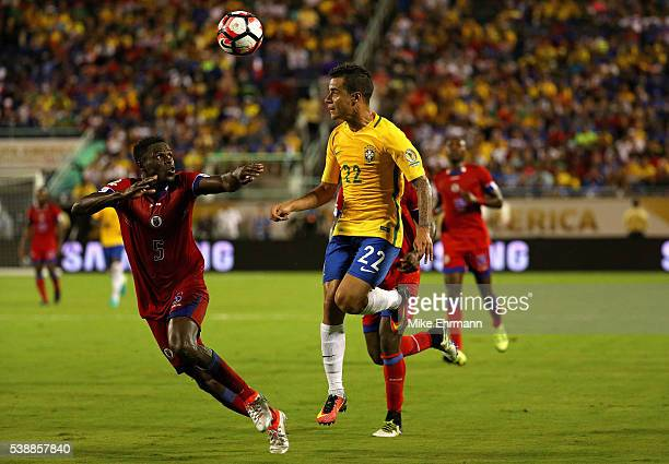 Philippe Coutinho of Brazil and Romain Genevois of Haiti fight for the ball during a Group B match of the 2016 Copa America Centenario at Camping...