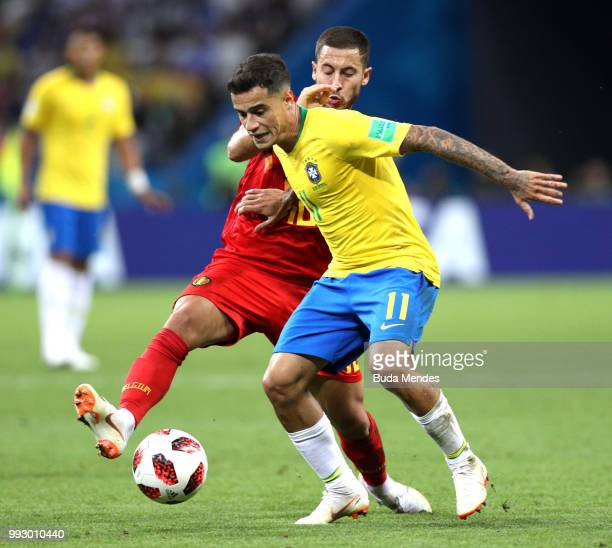 Philippe Coutinho of Brazil battles for possession with Eden Hazard of Belgium during the 2018 FIFA World Cup Russia Quarter Final match between...