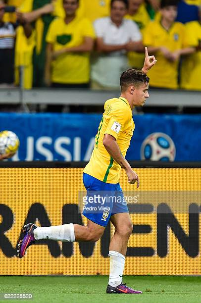 Philippe Coutinho of Brazil celebrates a scored goal against Argentina during a match between Brazil and Argentina as part 2018 FIFA World Cup Russia...