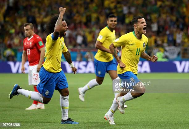 Philippe Coutinho of Brazil celebrates after scoring his team's first goal during the 2018 FIFA World Cup Russia group E match between Brazil and...