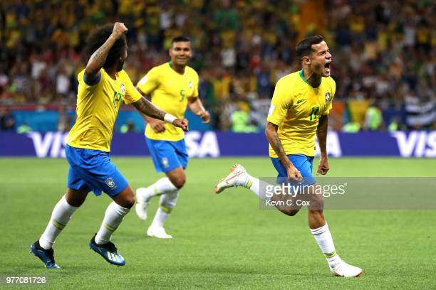 Philippe Coutinho of Brazil celebrates scoring the opening goal during the 2018 FIFA World Cup Russia group E match between Brazil and Switzerland at...
