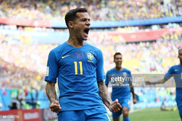 Philippe Coutinho of Brazil celebrates scoring the opening goal during the 2018 FIFA World Cup Russia group E match between Brazil and Costa Rica at...
