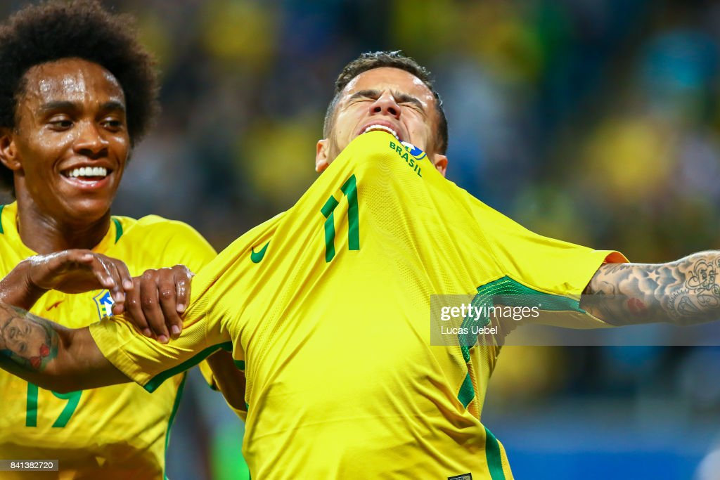 Philippe Coutinho of Brazil celebrates their second goal during the match Brazil v Equador - 2018 FIFA World Cup Russia Qualifier, at Arena do Gremio on August 31, 2017, in Porto Alegre, Brazil.