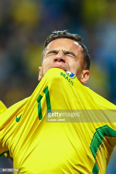 Philippe Coutinho of Brazil celebrates their second goal during the match Brazil v Equador 2018 FIFA World Cup Russia Qualifier at Arena do Gremio on...