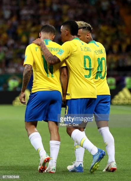 Philippe Coutinho of Brazil celebrates with Gabriel Jesus and Neymar Jr after scoring his team's first goal during the 2018 FIFA World Cup Russia...