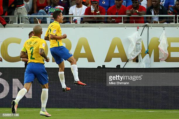 Philippe Coutinho of Brazil celebratesa goal during a Group B match of the 2016 Copa America Centenario against the Haiti at Camping World Stadium on...