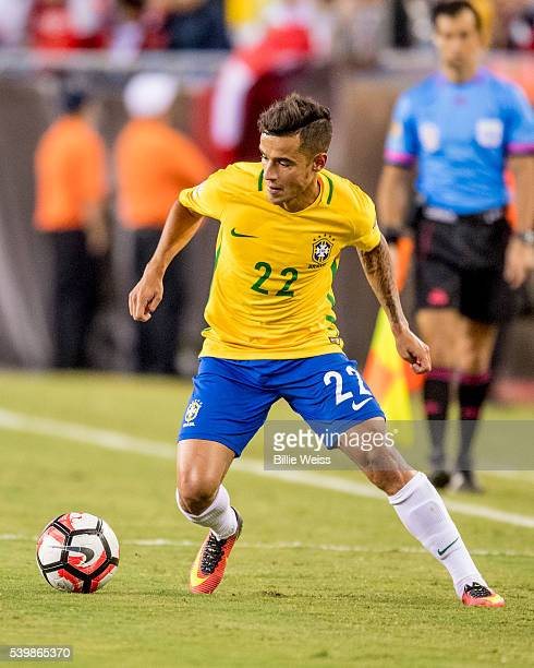 Philippe Coutinho of Brazil controls the ball during a group B match between Brazil and Peru at Gillette Stadium as part of Copa America Centenario...