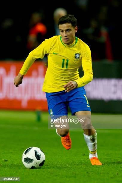 Philippe Coutinho of Brazil controls the ball during the international friendly match between Germany and Brazil at Olympiastadion on March 27 2018...