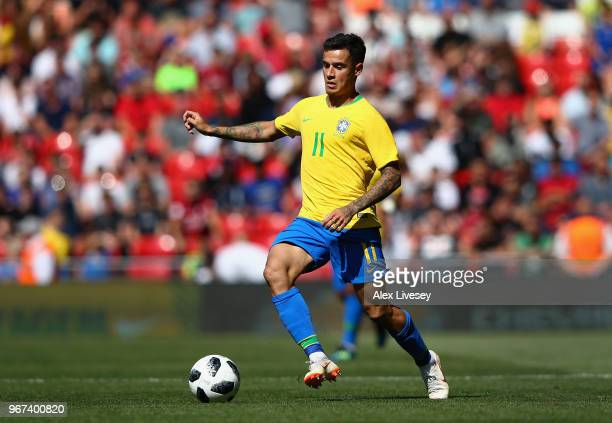 Philippe Coutinho of Brazil controls the ball during the International friendly match between of Croatia and Brazil at Anfield on June 3 2018 in...
