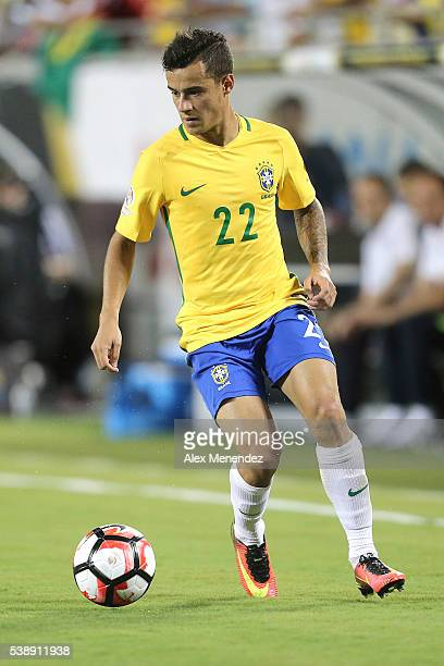 Philippe Coutinho of Brazil drives the ball during a group B match between Brazil and Haiti at Orlando Citrus Bowl as part of Copa America Centenario...