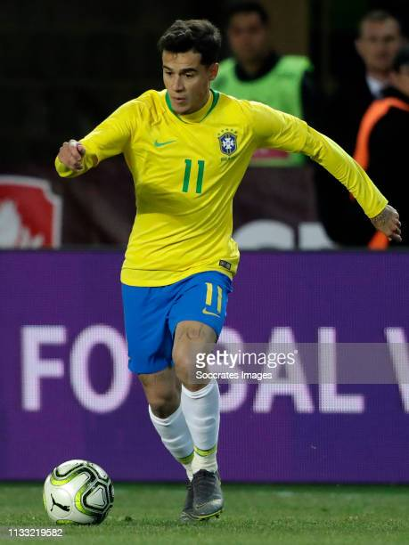Philippe Coutinho of Brazil during the International Friendly match between Czech Republic v Brazil at the Sinobo Stadium on March 26, 2019 in Prague...