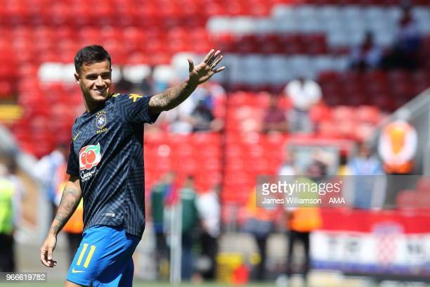 Philippe Coutinho of Brazil during the International friendly match between Croatia and Brazil at Anfield on June 3 2018 in Liverpool England