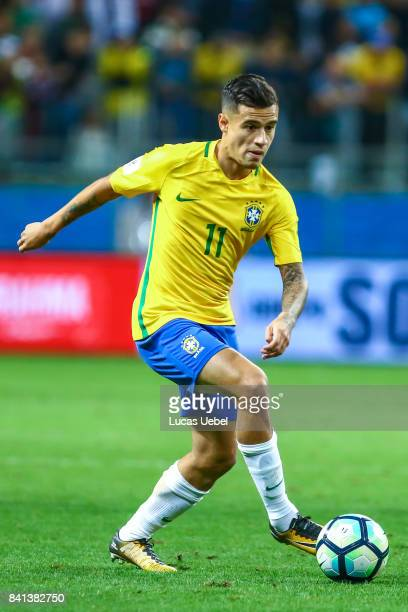 Philippe Coutinho of Brazil during the match Brazil v Equador 2018 FIFA World Cup Russia Qualifier at Arena do Gremio on August 31 in Porto Alegre...