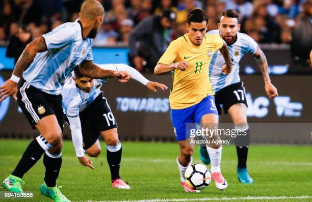 Philippe Coutinho of Brazil in action during a friendly football match between Argentina and Brazil at the Melbourne Cricket Ground in Melbourne...
