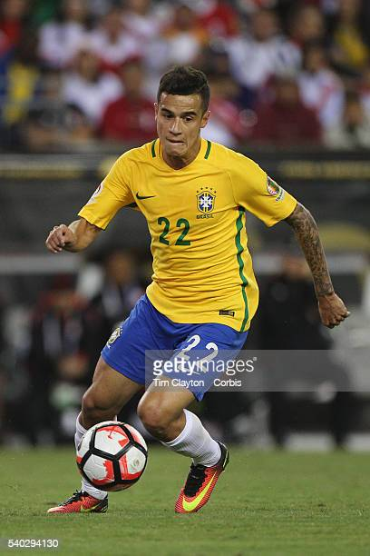 Philippe Coutinho of Brazil in action during the Brazil Vs Peru Group B match of the Copa America Centenario USA 2016 Tournament at Gillette Stadium...