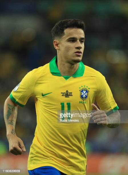 Philippe Coutinho of Brazil in action during the Copa America Brazil 2019 Final match between Brazil and Peru at Maracana Stadium on July 07, 2019 in...