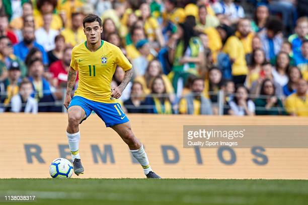 Philippe Coutinho of Brazil in action during the International Friendly match between Brazil and Panama at Estadio do Dragao on March 23, 2019 in...
