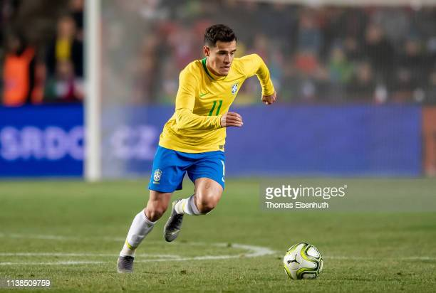 Philippe Coutinho of Brazil in action during the international friendly match between the Czech Republic and Brazil at Sinobo Stadium on March 26,...