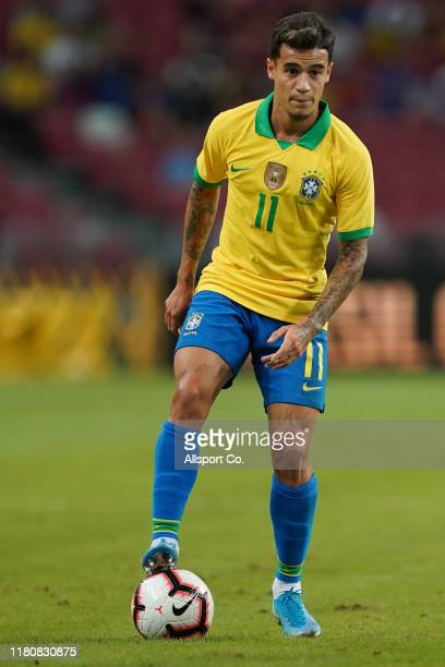 Philippe Coutinho of Brazil in action during the international friendly match between Brazil and Nigeria at the Singapore National Stadium on October...