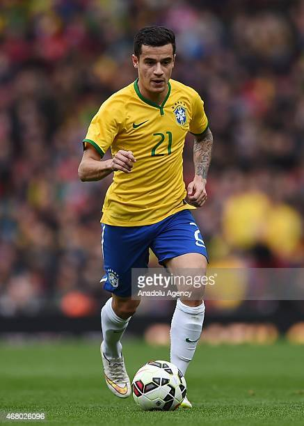 Philippe Coutinho of Brazil in action during the International Friendly match between Brazil and Chile at The Emirates Stadium in London England on...