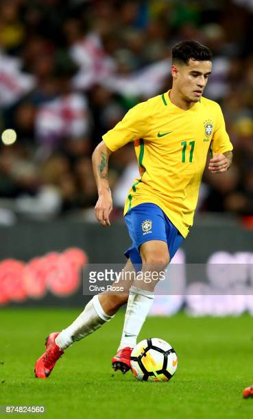 Philippe Coutinho of Brazil in action during the International Friendly match between England and Brazil at Wembley Stadium on November 14 2017 in...