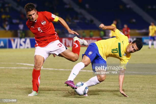 Philippe Coutinho of Brazil is challenged by Michael Schimpelsberger of Austria during the FIFA U20 World Cup Group E match between Brazil and...