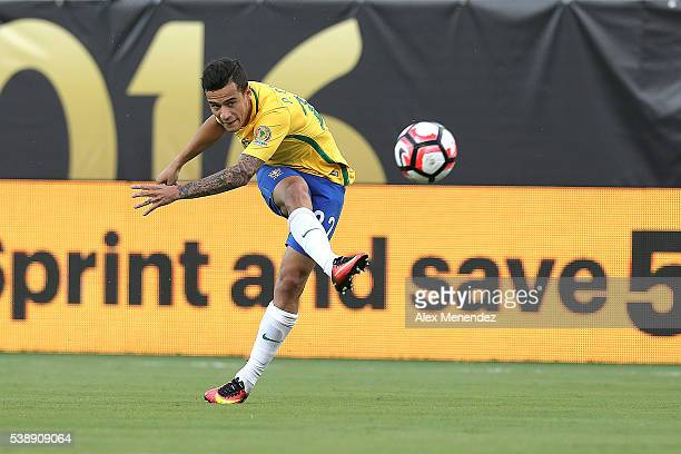 Philippe Coutinho of Brazil kicks the ball during a group B match between Brazil and Haiti at Orlando Citrus Bowl as part of Copa America Centenario...
