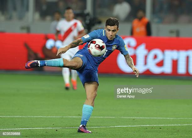 Philippe Coutinho of Brazil kicks the ball during a match between Peru and Brazil as part of FIFA 2018 World Cup Qualifiers at Nacional Stadium on...