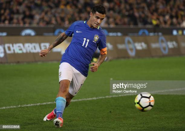 Philippe Coutinho of Brazil kicks the ball during the Brasil Global Tour match between Australian Socceroos and Brazil at Melbourne Cricket Ground on...