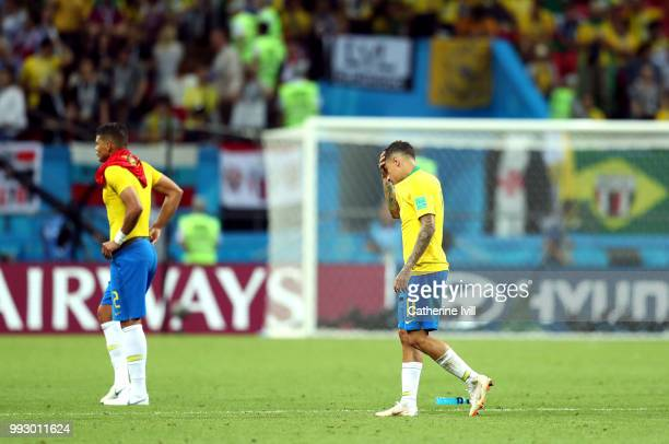Philippe Coutinho of Brazil looks dejected following his sides defeat in the 2018 FIFA World Cup Russia Quarter Final match between Brazil and...
