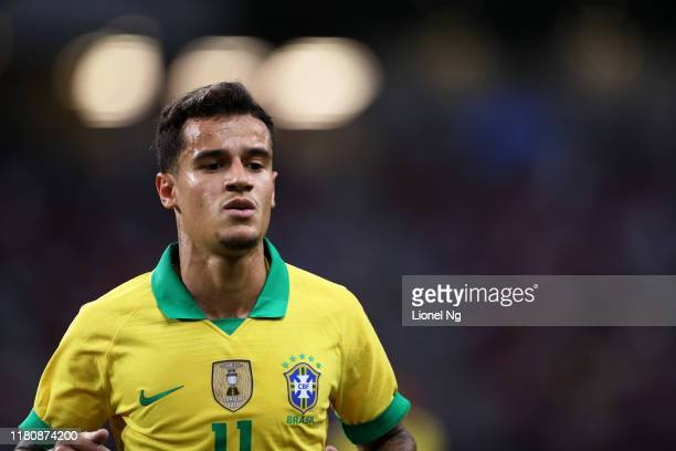 Philippe Coutinho of Brazil looks on during the international friendly match between Brazil and Nigeria at the Singapore National Stadium on October...