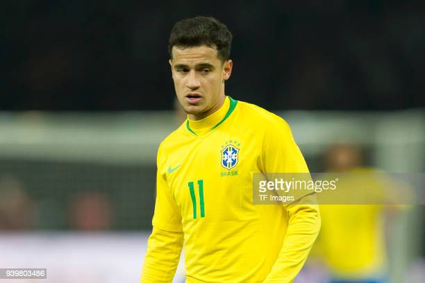 Philippe Coutinho of Brazil looks on during the international friendly match between Germany and Brazil at Olympiastadion on March 27 2018 in Berlin...